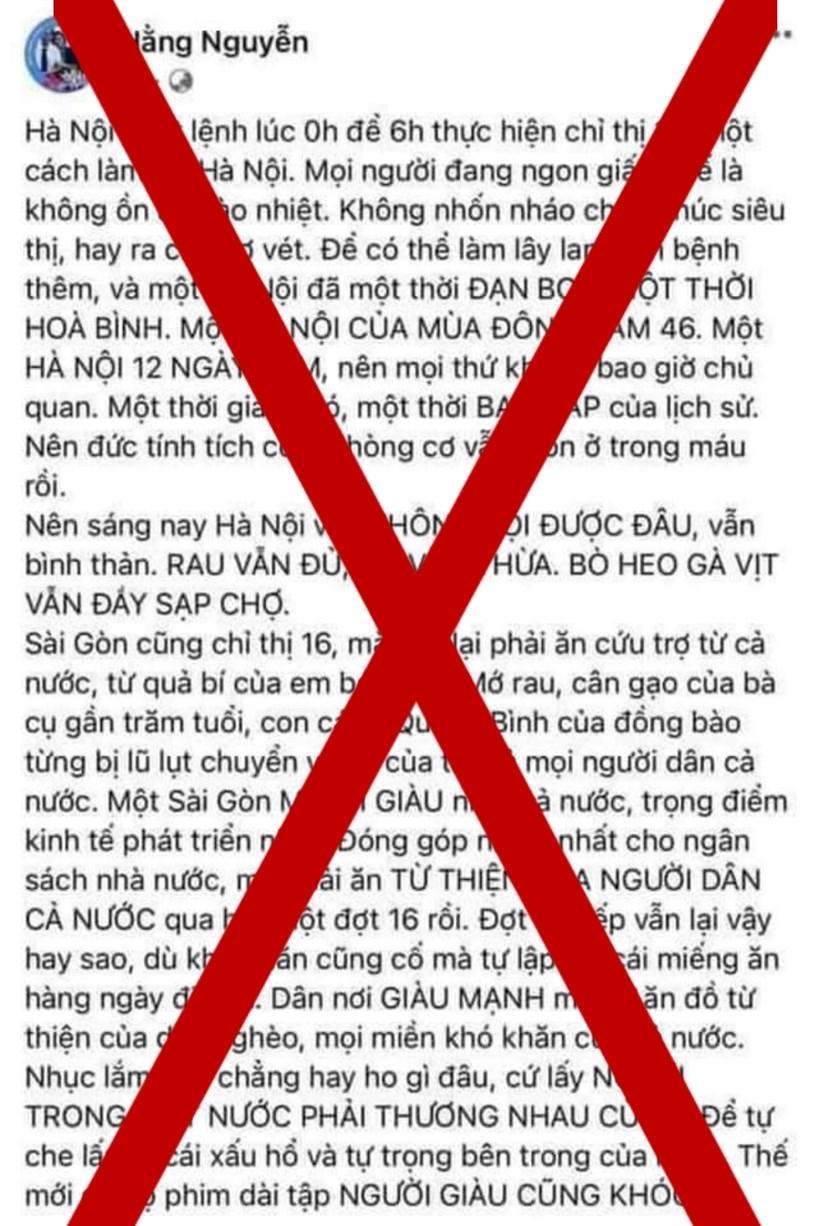 """Thành phố Hồ Chí Minh: Đăng tải nội dung gây bức xúc, chủ tài khoản facebook """"Hằng Nguyễn"""" bị mời lên làm việc"""