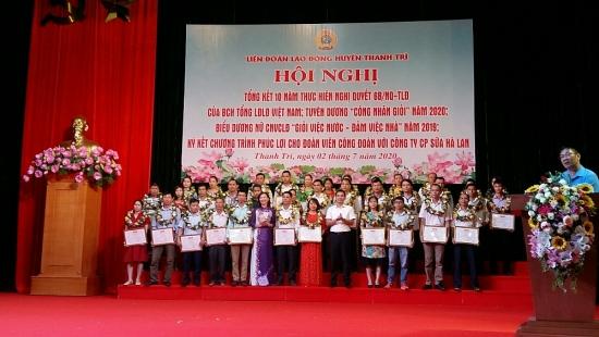 Liên đoàn lao động huyện Thanh Trì tổng kết 10 năm thực hiện nghị quyết 6B, tuyên dương công nhân giỏi