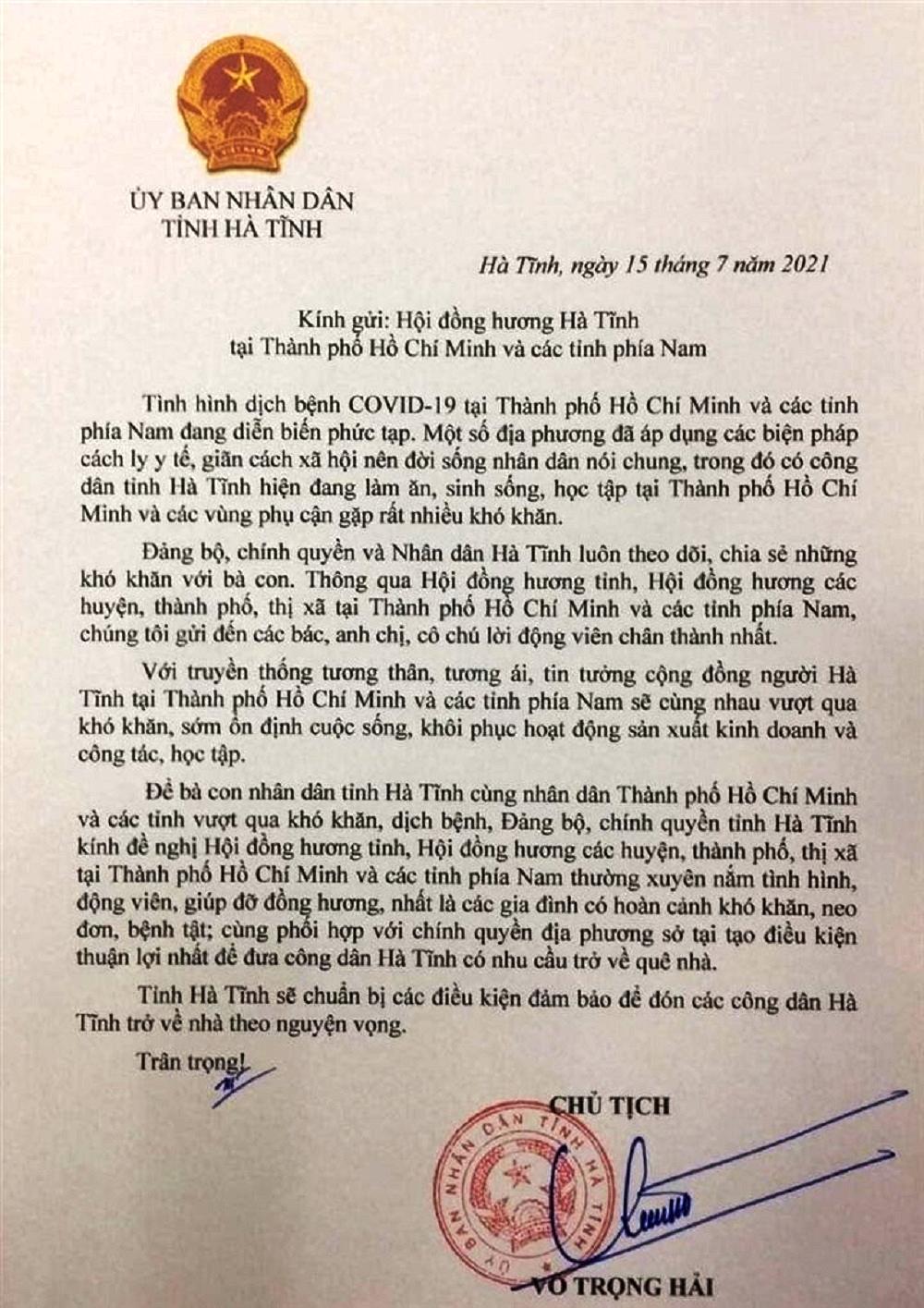Hà Tĩnh sẵn sàng đón công dân tại thành phố Hồ Chí Minh và các tỉnh phía Nam trở về theo nguyện vọng