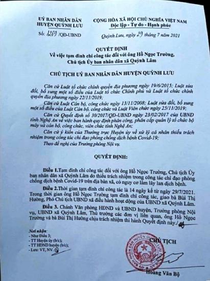 Nghệ An: Cho phép F1 về nhà thăm vợ con, một chủ tịch xã bị tạm đình chỉ công tác