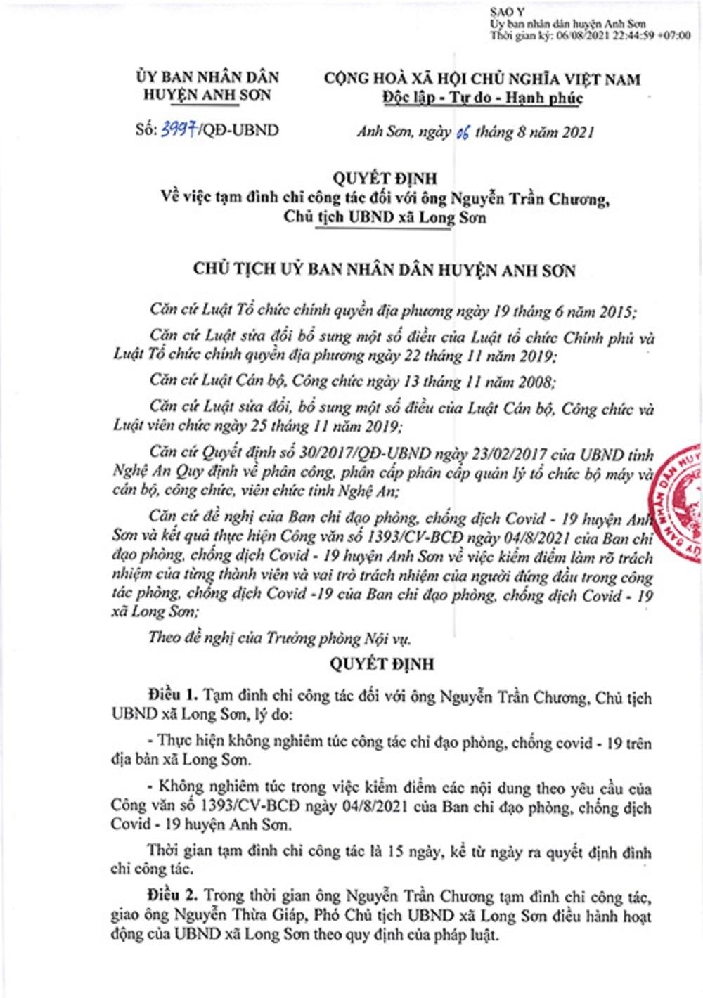 Nghệ An: Thêm 1 Chủ tịch xã bị đình chỉ công tác vì lơ là trong công tác phòng, chống Covid-19