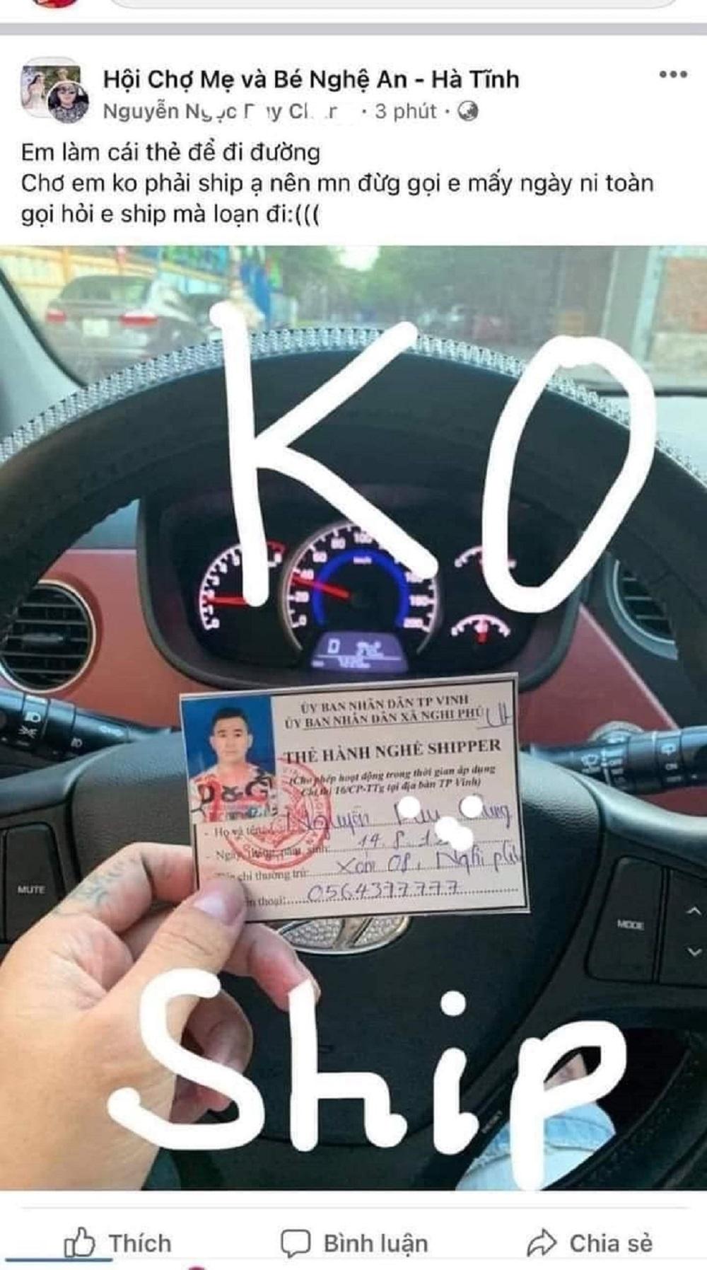 Nghệ An: Khoe thẻ shipper sử dụng sai mục đích trên mạng xã hội, người đàn ông bị xử phạt