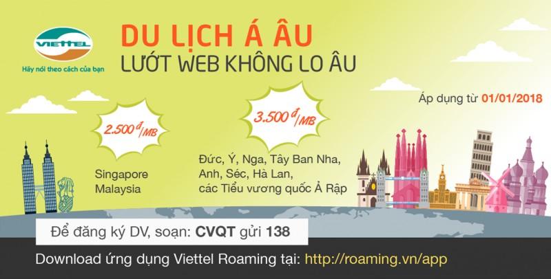 Khách hàng Viettel đi châu Á, châu Âu dùng data roaming chỉ từ 2.500đ/MB