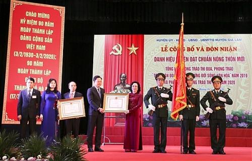 Huyện Gia Lâm đón nhận danh hiệu huyện đạt chuẩn nông thôn mới