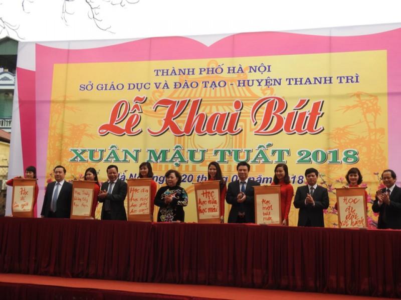 Ngành GD&ĐT Hà Nội tổ chức Lễ khai bút đầu Xuân Mậu Tuất 2018