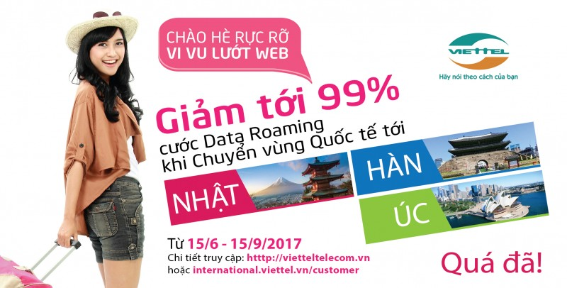 Viettel giảm tới 99% cước data roaming cho khách hàng đi Nhật, Hàn, Úc