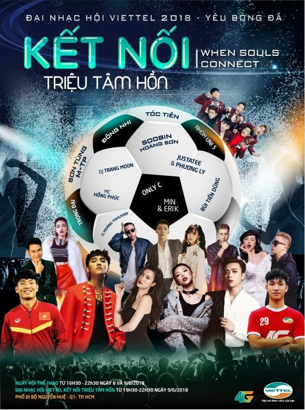 """Nhiều sao trẻ hội tụ trong Đại nhạc hội """"Viettel- kết nối triệu tâm hồn- yêu bóng đá"""""""