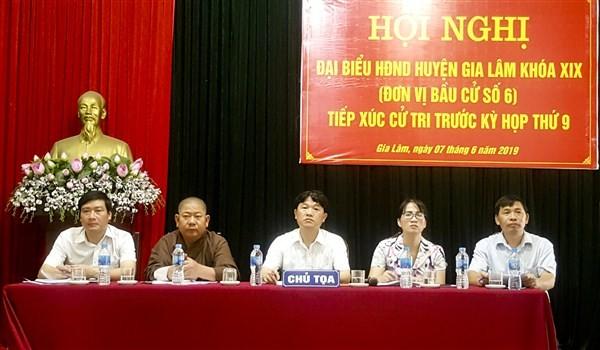 Đại biểu HĐND huyện Gia Lâm khóa XIX tiếp xúc cử tri trước kỳ họp thứ 9