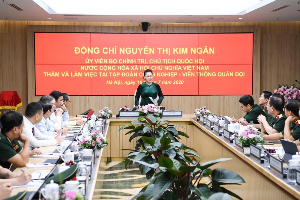Chủ tịch Quốc hội Nguyễn Thị Kim Ngân: Viettel cần giữ vững vị trí số 1 về viễn thông của Việt Nam