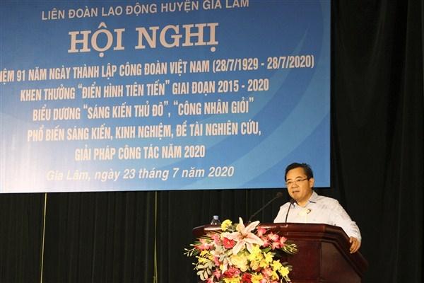 LĐLĐ huyện Gia Lâm kỷ niệm 91 năm ngày thành lập Công đoàn Việt Nam