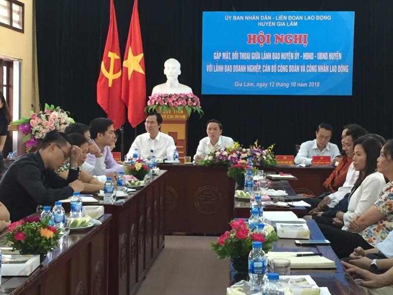 Lãnh đạo huyện Gia Lâm gặp mặt, đối thoại với doanh nghiệp, cán bộ CĐCS và CNLĐ