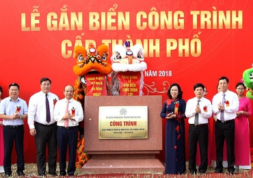 Trung tâm Văn hóa- Thể dục thể thao quận Hoàng Mai được gắn biển công trình cấp Thành phố