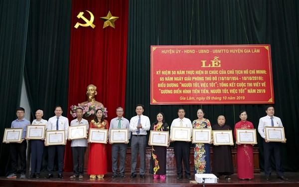 Huyện Gia Lâm: Tiếp tục  đổi mới phong trào thi đua 'Người tốt, việc tốt'