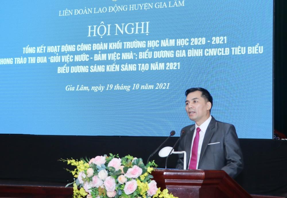 Liên đoàn Lao động huyện Gia Lâm tổng kết hoạt động Công đoàn khối trường học năm học 2020- 2021