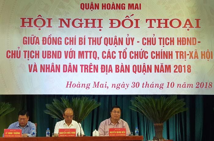Lãnh đạo quận Hoàng Mai lắng nghe ý kiến nhân dân