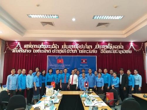 Củng cố tình cảm hữu nghị, hợp tác giữa LĐLĐ Thành phố Hà Nội và Liên hiệp Công đoàn Thủ đô Viêng Chăn