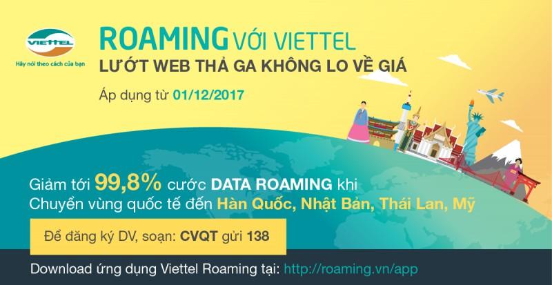 Viettel giảm giá tới 99% cước data roaming tại Mỹ, Nhật Bản, Thái Lan và Hàn Quốc