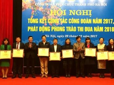 160 tập thể, cá nhân được khen thưởng có thành tích trong hoạt động công đoàn năm 2017