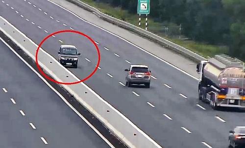 Thêm một trường hợp chạy ngược chiều trên cao tốc bị xử phạt