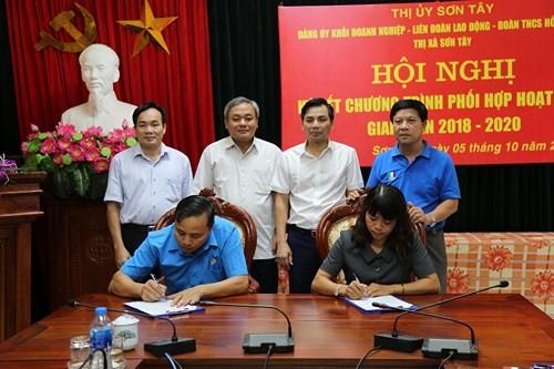 LĐLĐ thị xã Sơn Tây đẩy mạnh chương trình phối hợp hoạt động