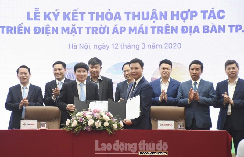 EVN Hà Nội và Tập đoàn Sơn Hà: Ký kết thỏa thuận hợp tác phát triển điện mặt trời áp mái