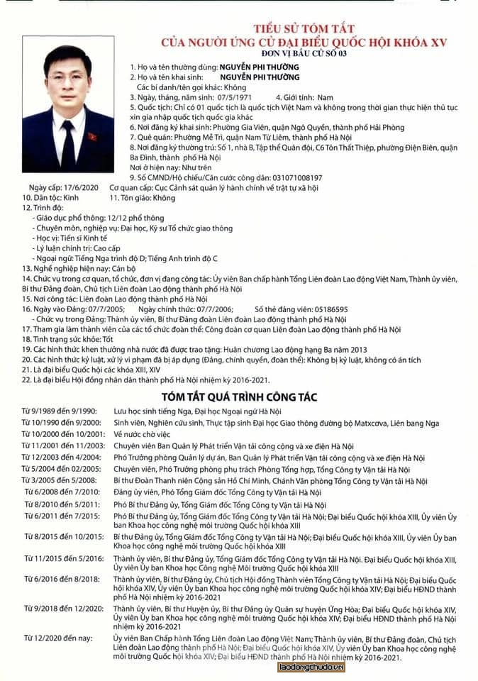 Danh sách 5 ứng cử viên đại biểu Quốc hội khóa XV tại đơn vị bầu cử số 3 thành phố Hà Nội