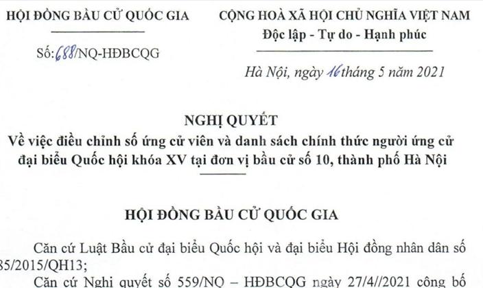 Điều chỉnh số lượng người ứng cử đại biểu Quốc hội khóa XV tại đơn vị bầu cử số 10, thành phố Hà Nội
