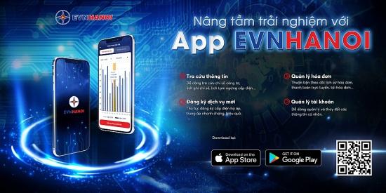 App EVNHANOI trên thiết bị di động giúp khách hàng chủ động theo dõi chỉ số điện