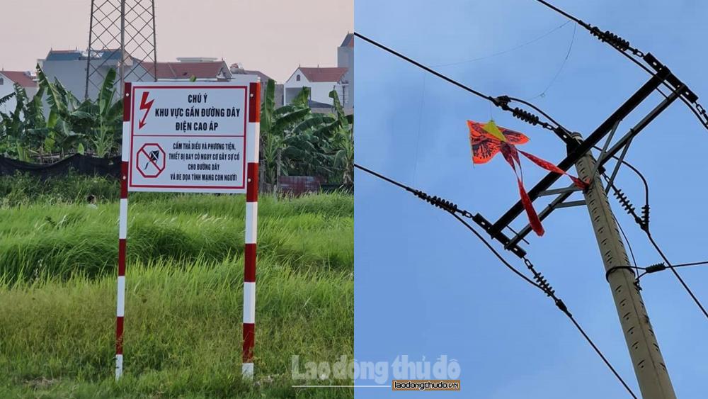 EVN Hà Nội cảnh báo người dân không được thả diều gần hành lang an toàn lưới điện