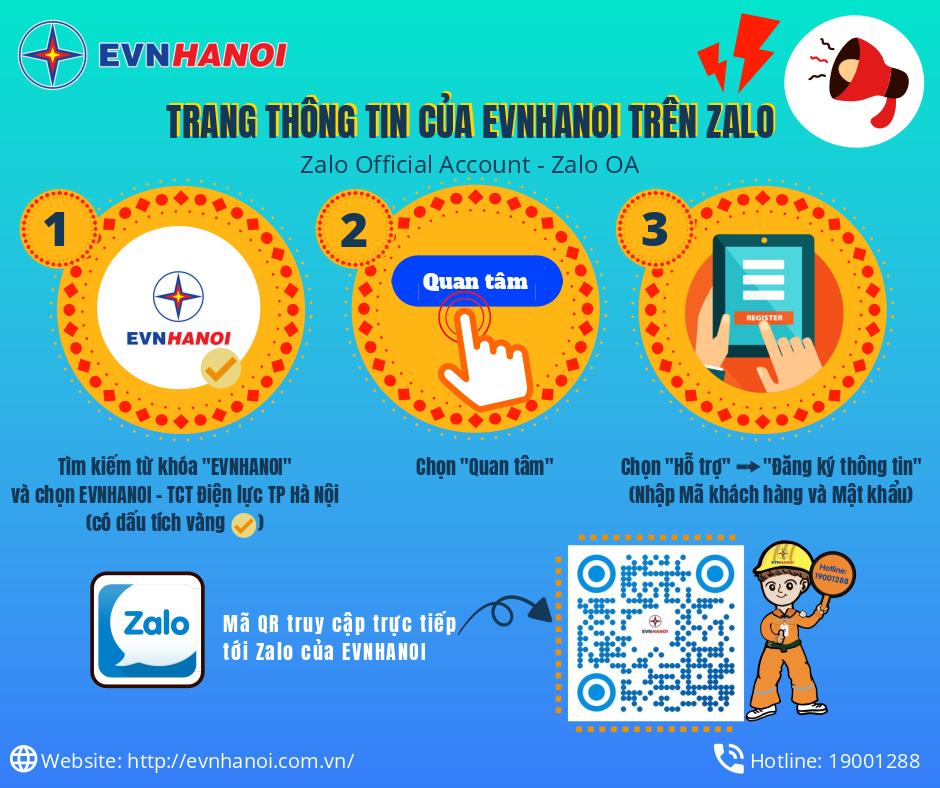 EVNHANOI xây dựng trang tin trên ứng dụng Zalo