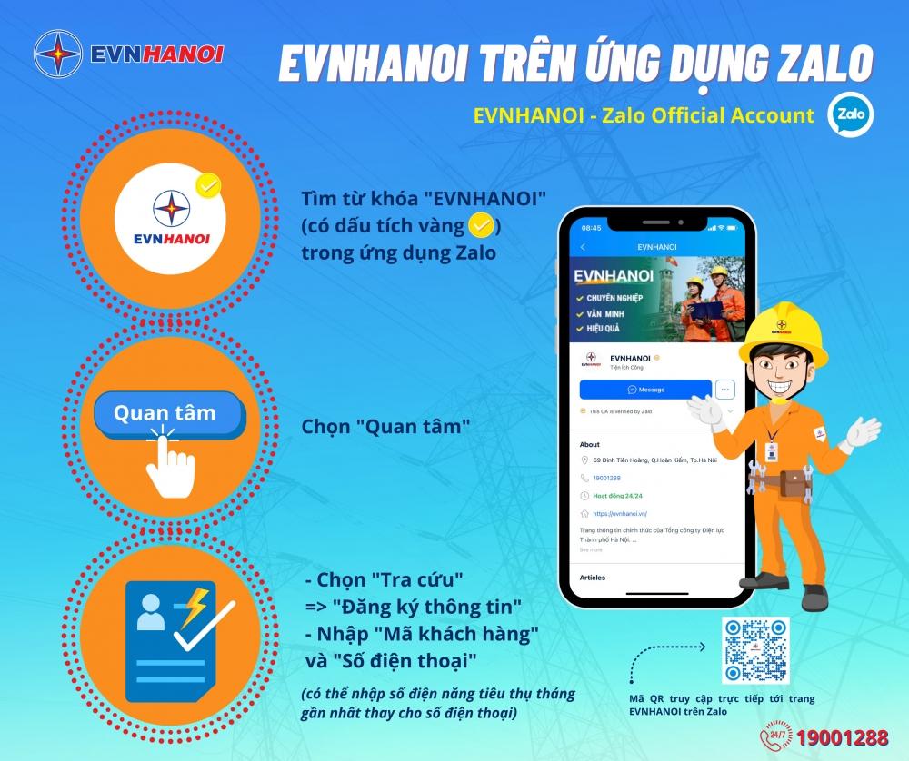 EVN Hà Nội triển khai nhiều dịch vụ hỗ trợ khách hàng trên ứng dụng Zalo