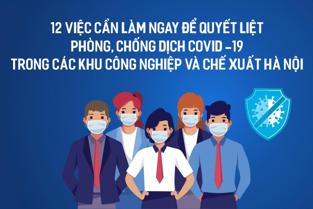 [Infographics] 12 việc cần làm ngay để quyết liệt phòng, chống dịch Covid-19 trong các Khu Công nghiệp và Chế xuất Hà Nội