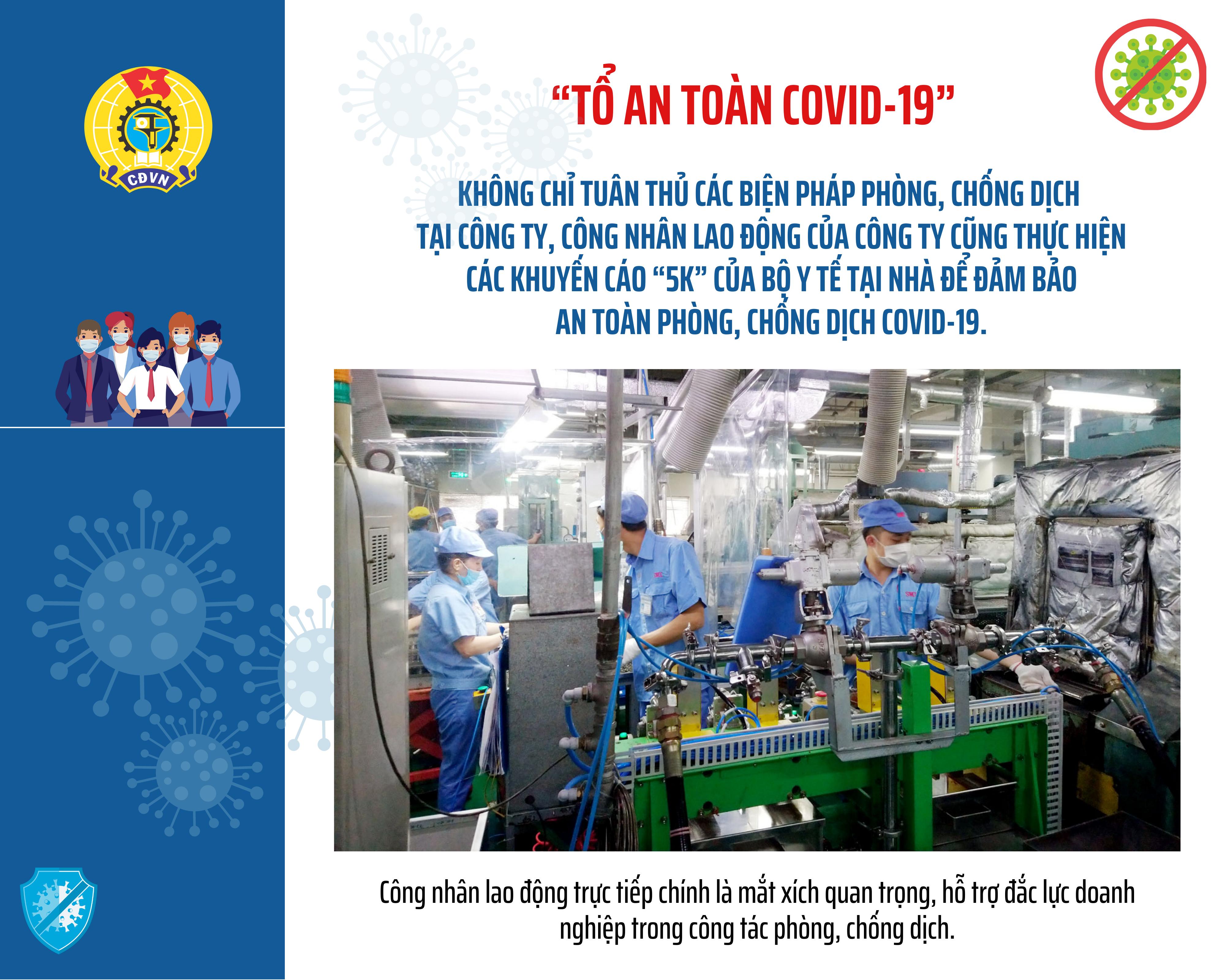 """""""Tổ An toàn Covid-19"""": Thành trì vững chắc bảo vệ sản xuất"""