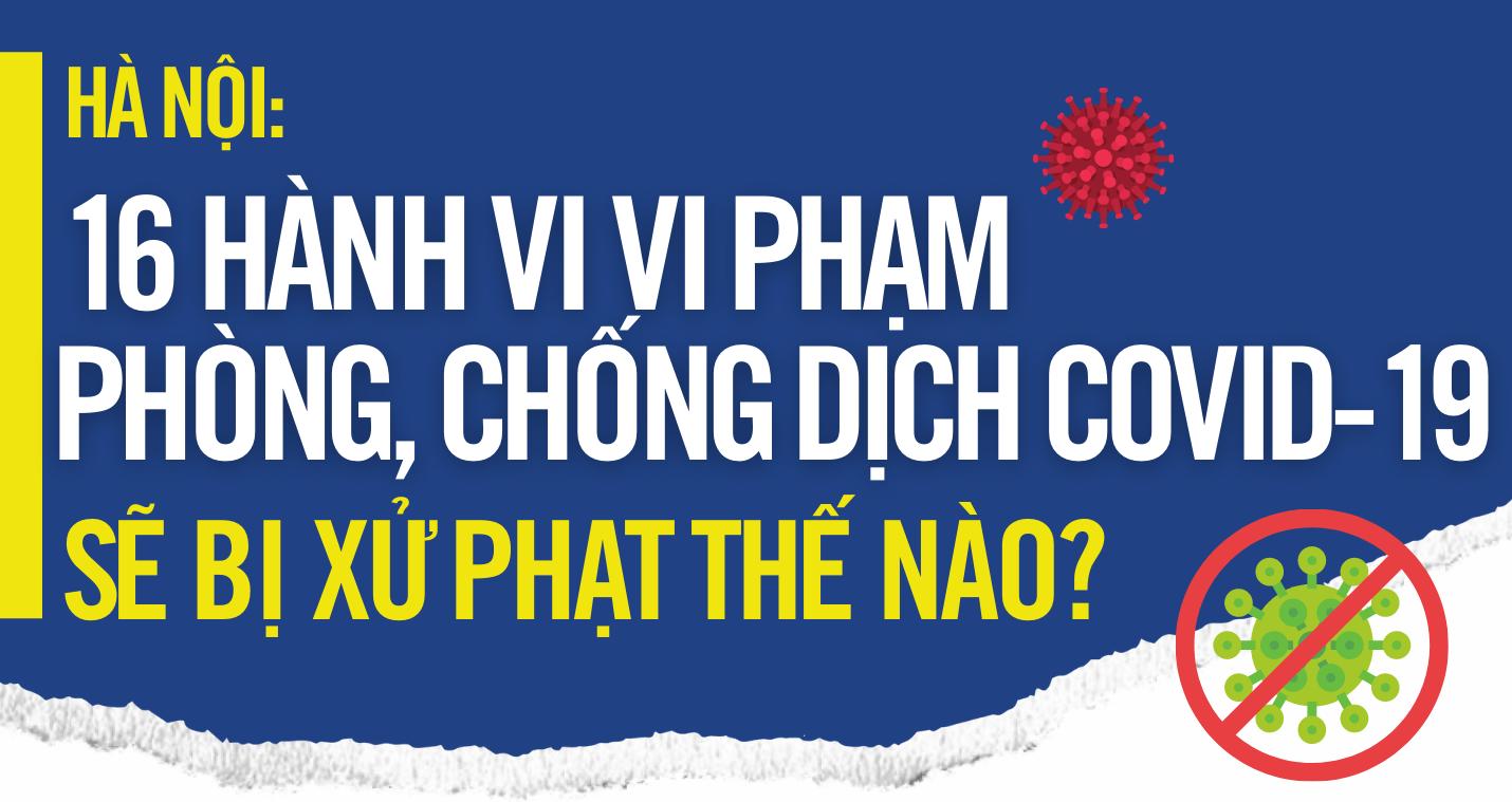 [Infographic] 16 hành vi vi phạm phòng, chống dịch Covid-19 sẽ bị xử phạt tại Hà Nội