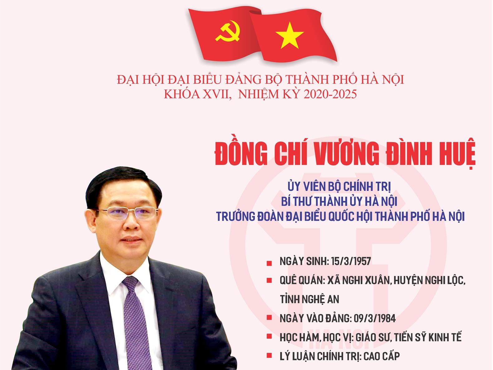Infographic: Tóm tắt quá trình công tác của Ủy viên Bộ Chính trị, Bí thư Thành ủy Hà Nội Vương Đình Huệ