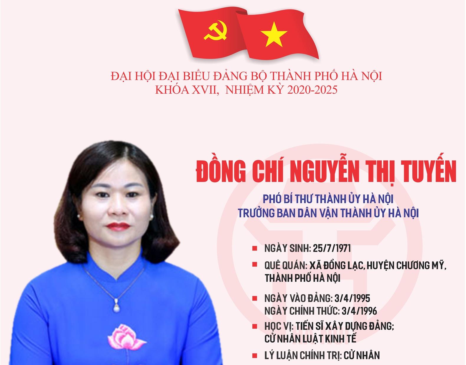 Infographic: Tóm tắt quá trình công tác của Phó Bí thư Thành ủy Hà Nội Nguyễn Thị Tuyến