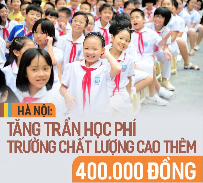 Infographic: Hà Nội tăng trần học phí trường chất lượng cao thêm 400.000 đồng