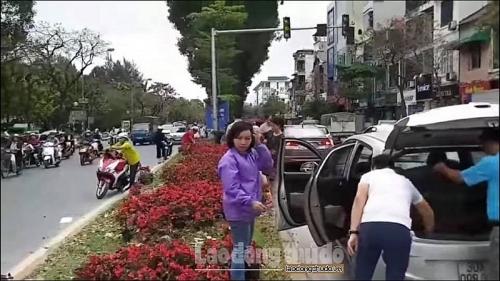 Nhiều người dân dừng xe giữa đường lấy hoa trang trí