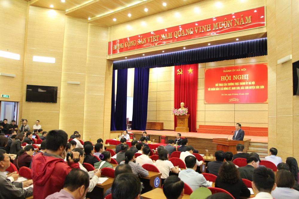 Thường trực Thành ủy Hà Nội đối thoại với nhân dân huyện Sóc Sơn