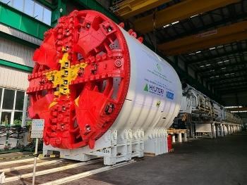 Những bộ phận đầu tiên của máy đào hầm tuyến đường sắt Nhổn - Ga Hà Nội đã về đến Việt Nam