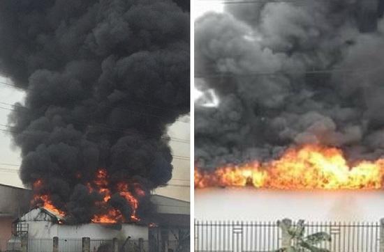 Hải Phòng: Cháy lớn tại khu công nghiệp, cột khói đen bốc cao hàng chục mét