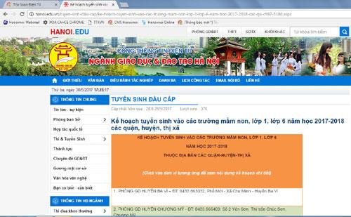Công bố số máy hỗ trợ tuyển sinh đầu cấp tại Hà Nội