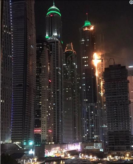 Hỏa hoạn dữ dội bao trùm tòa nhà 79 tầng ở Dubai trong đêm