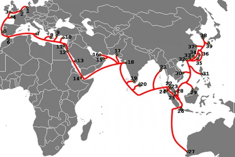 Ba tuyến cáp quang nối Internet Việt Nam đi quốc tế gặp sự cố