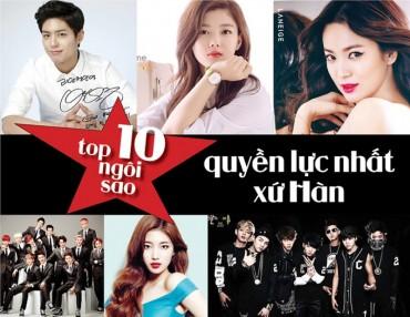 Top 10 ngôi sao quyền lực nhất xứ Hàn năm 2017