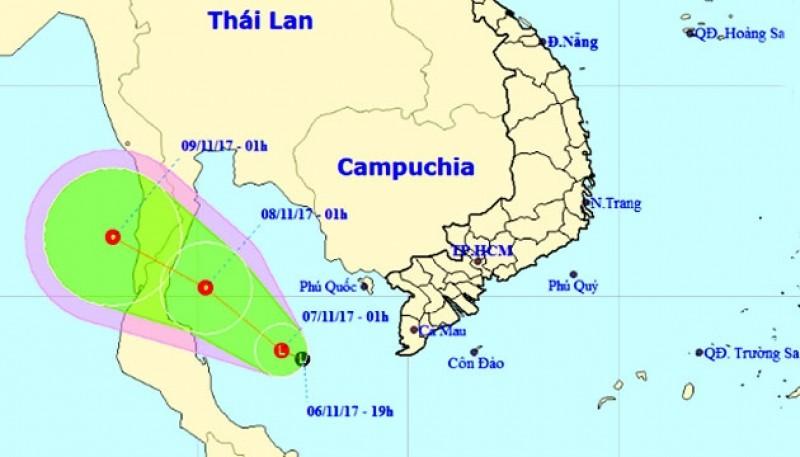 Xuất hiện vùng áp thấp trên vịnh Thái Lan