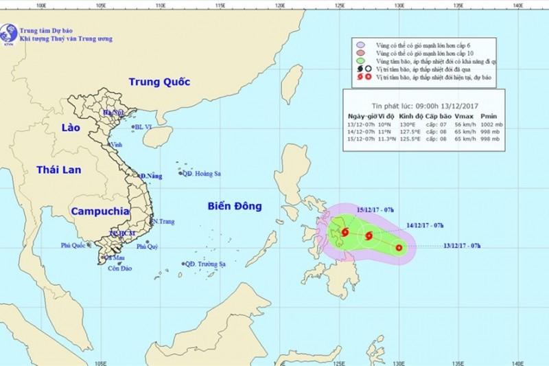 Xuất hiện áp thấp nhiệt đới có khả năng mạnh lên thành bão