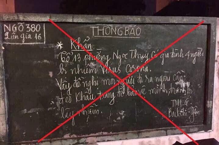 Thông tin 4 người nhiễm virus Corona ở Hà Nội là không chính xác