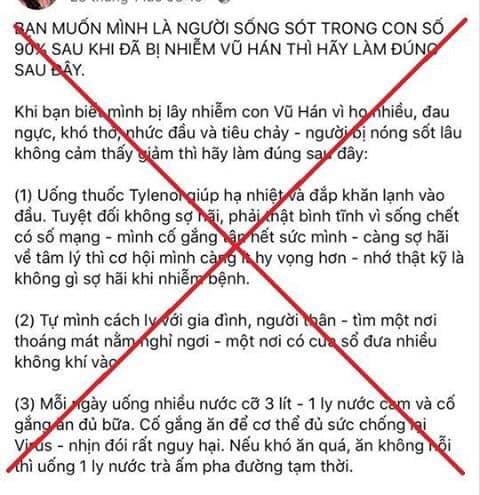 xu ly doi tuong dang tin sai su that ve cach chua covid 19