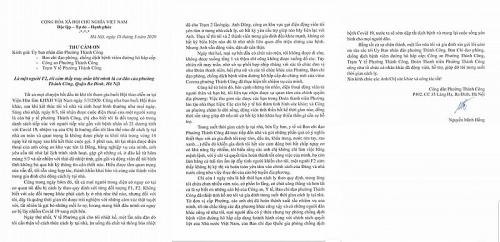 Ấm lòng bức thư cảm ơn của một người dân phải cách ly tại nhà do dịch Covid-19